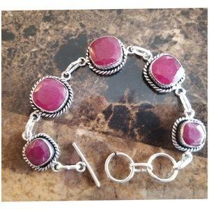 "Jewelry - Beautiful Natural Ruby Bracelet 8"" long"
